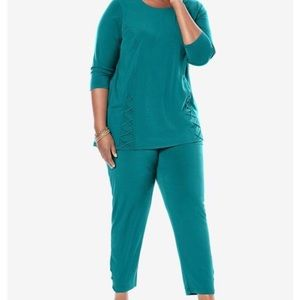 Woman Within lace up knit pant set size 22/24